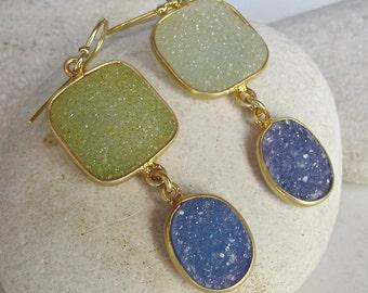 Green Blue Druzy Earring- Colorful Festival Earring- Two Stone Dangle Earring- Unique Gemstone Earring- Sterling Silver Earring