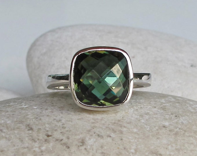 Faceted Green Topaz Ring- Forest Green Quartz Ring- Green Stacking Sterling Silver Ring- Square Shaped Ring- Cushion Cut Bezel Ring