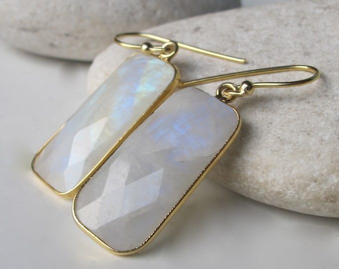 Large Statement Moonstone Long Dangle Earring- Rectangle Rainbow Moonstone Drop Earring- Jewelry Gifts for Her