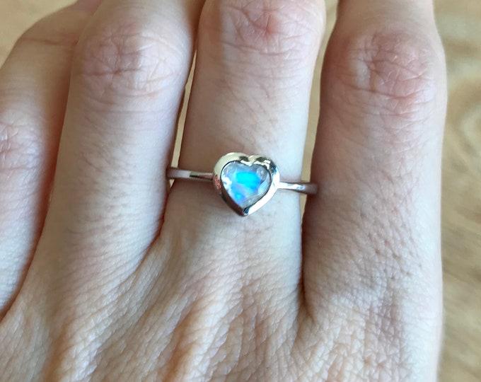 Heart Moonstone Engagement Ring- Moonstone Heart Promise Ring- Moonstone White Rose Yellow Gold Simple Ring- June Birthstone Ring