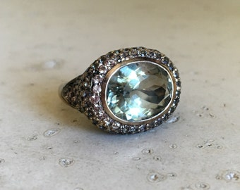 Designer Statement Ring- Oval Green Amethyst Ring- Unique Artisan Ring- One of A Kind Ring- February Birthstone Ring- Bold Cocktail Ring