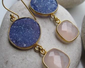 Pink Gemstone Earring- Gemstone Earring- Pink Blue Earring- Statement Earring- Crystal Earring- Silver Earring- Quartz Earring- Earring