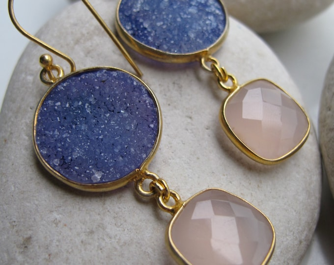 Blue Druzy Pink Two Stone Statement Dangle Earring- Long Drop Mix Gemstone Earring- Blue Pink Earring