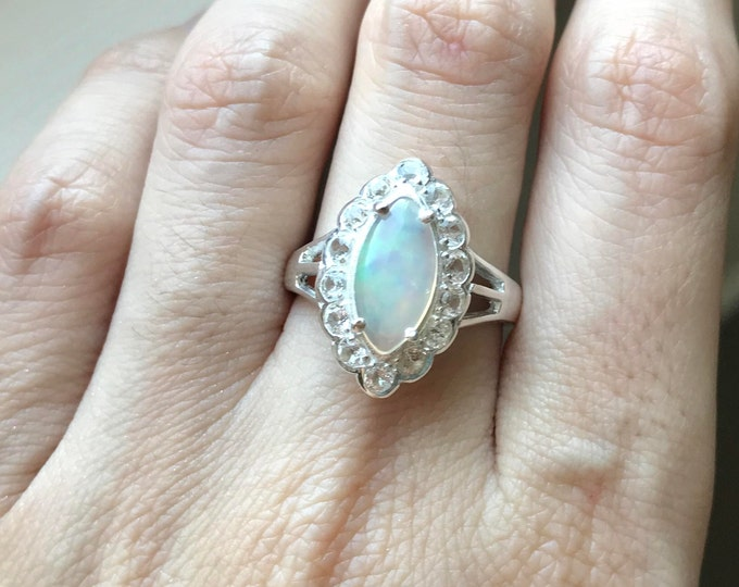 Marquise Opal Engagement Ring- Opal Promise Ring- Scallop Halo Opal Ring- October Birthstone Ring- Navette Opal Anniversary Ring