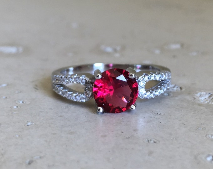 1.50ct Ruby Round Engagement Ring- Red Ruby Promise Ring For Her- July Birthstone Ring- Red Gemstone Anniversary Solitaire Ring