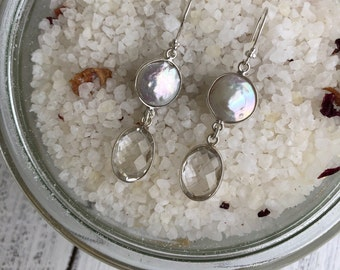 Pearl Dangle Long Earring- Handmade Gemstone Statement Earring- Double Stone Earring- Claer Quartz Drop Earring- Bohemian Boho Earring
