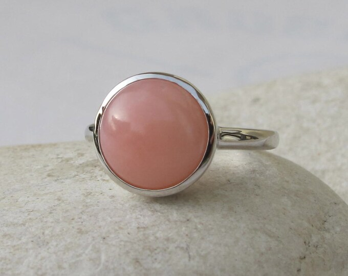Stacking Pink Opal Ring- October Birthstone Ring- Round Pink Gemstone Ring- Sterling Silver Ring- Smooth Pink Stone Ring