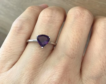 Amethyst Ring Sterling Silver Triangle- Stackable Purple Simple Ring- Stack Ring- February Birthstone Trillion Boho Ring Amethyst Minimal