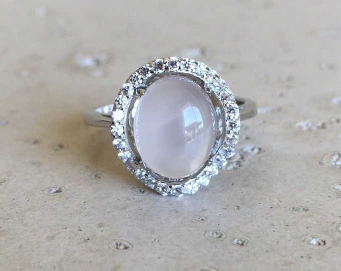 Halo White Moonstone Ring- White Moonstone Promise Ring- Oval Engagement Ring- Solitaire Statement Ring- June Birthstone Ring
