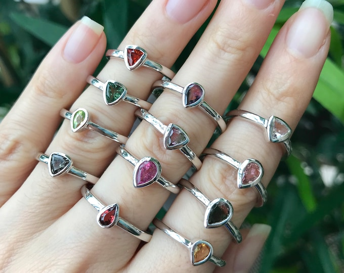 Tourmaline Stackable Boho Ring- Green Pink Watermelon Yellow Blue Tourmaline Ring- October Birthstone Dainty Rings