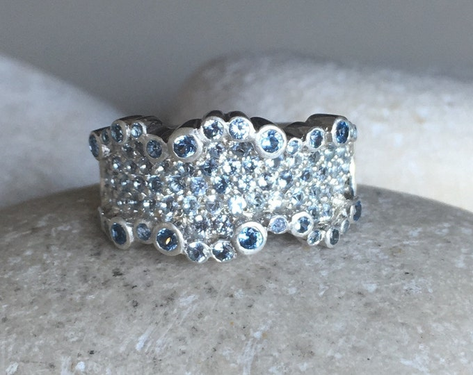 Unique Woman Wedding Band- Blue Statement Wavy Band- Wide Band Sterling Silver Ring- Blue Crystal Large Band- Blue Quartz Topaz Cigar Band