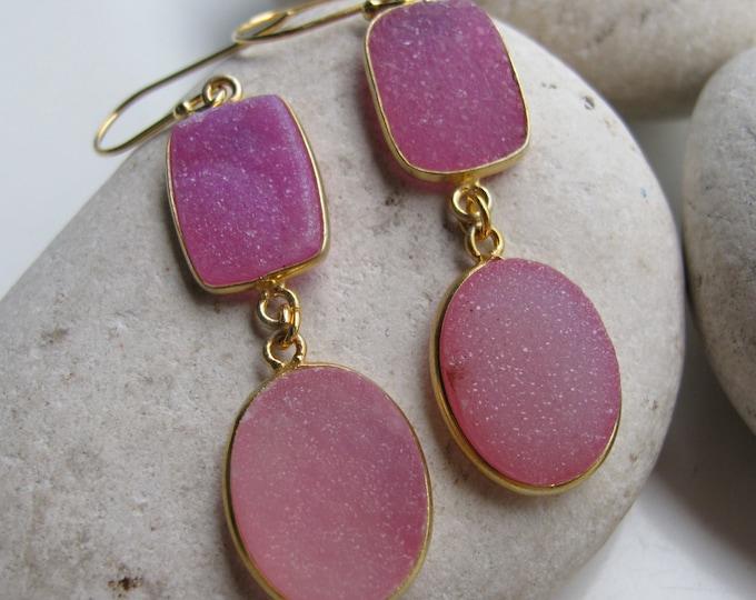 Pink Druzy Gemstone Long Dangle Earring- Pink Statement Drop Two Stone Earring