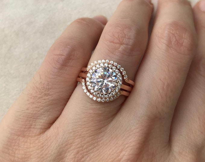 Rose Gold Deco Engagement Ring Set- 3.7ct Diamond Bridal Ring Set- Clear Colorless Gemstone Engagement Ring- Halo Round 3 Piece Ring Set-