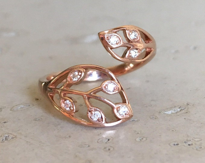Leaf Ring Diamond Rose Gold Leaf Ring White Gold Yellow Gold Leaf Ring Gold Adjustable Floral Branch Olive Leaf Ring Twig Vine  Nature