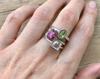 Gemstone Stackable Ring- Family Birthstone Ring- Mothers Family Birthstone Ring- April August July Birthstone Ring- Customize Ring Set