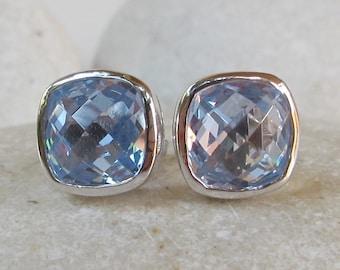 Square Blue Topaz Earring- Cushion Blue Quartz Earring- Minimal Blue Earring- December Birthstone Earring- Simple Classic Earring
