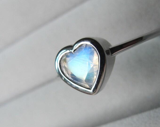 14k Heart Moonstone Promise Bezel Ring- Moonstone Heart Shaped Anniversary Ring- Gift for Her, Girlfriend, Wife, BFF- June Birthstone Ring