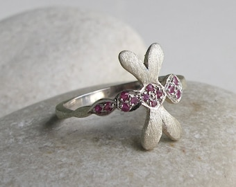 Ruby Dragonfly Whimical Boho Ring in Sterling Silver