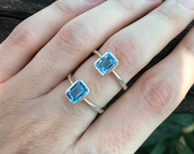 Swiss Blue Topaz Rectangle Ring- Dark Blue Topaz Stackable Silver Bezel Ring- Ring for Teen Children- Small Simple Minimalist Dainty Ring