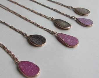 Rose Gold Druzy Necklace- Layering Statement Gemstone Necklaces- Sparkly Stone Necklaces- Everyday Simple Necklace