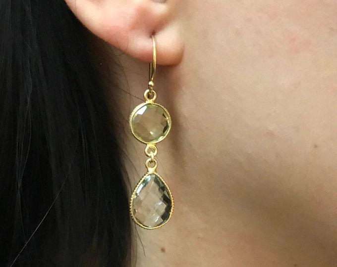 Long Gold Dangle Earring- Two Stone Drop Earring- February Birthstone Earring- Simple Everyday Earring- Sterling Silver Gemstone Earring