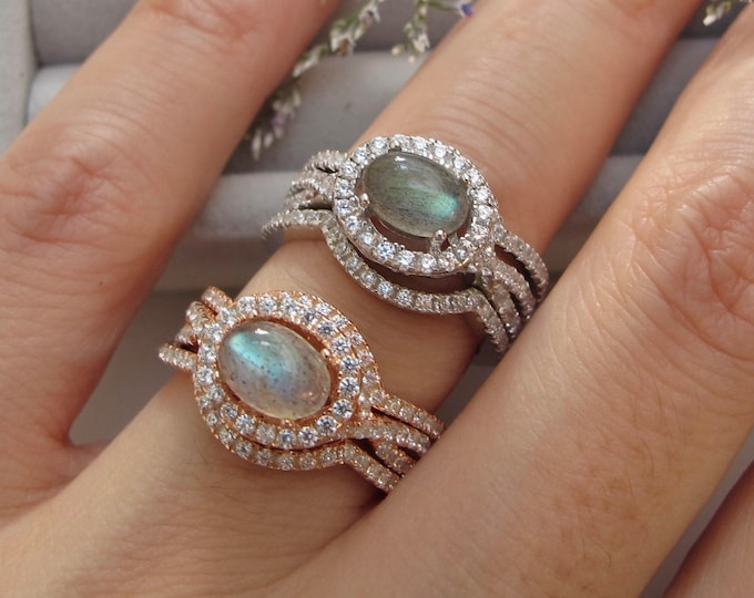 Oval Genuine Labradorite Bridal 3 Ring Set-Cabochon Labradorite Engagement Rings- Split Twist Shank Prong Ring-Rose Gold Silver Ring