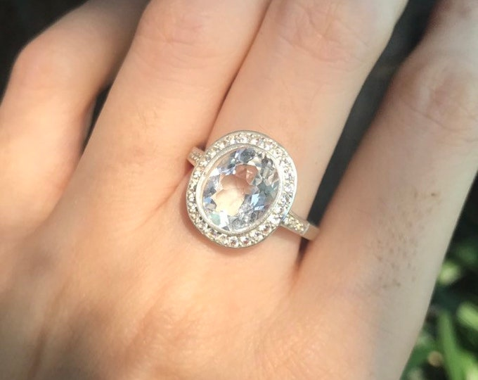 3.36ct Genuine White Topaz Oval Engagement Ring- Large Non Diamond Oval Solitaire Silver Ring- Colorless Clear Stone Promise Ring for Her