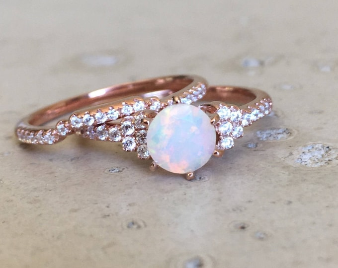 Natural Opal Bridal 2 Ring Set- Genuine Opal Engagement 2 Rings-Round Opal Promise Ring Set- Rose Gold Opal Ring- October Birthstone Ring