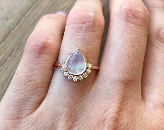 Unique Moonstone Engagement Ring- Rose Gold Moonstone Ring- Rainbow Moonstone Engagement Ring- Rose Gold Promise Ring- June Birthstone Ring