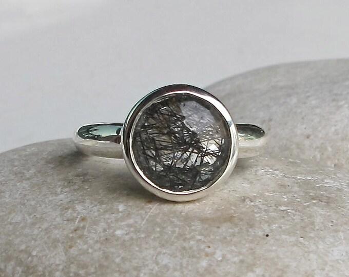 Black Rutile Ring- Rutilated Quartz Boho Ring- Tourmalated Quartz Ring- Round Gypsy Needle Ring- Unique Stackable Bohemian Ring-