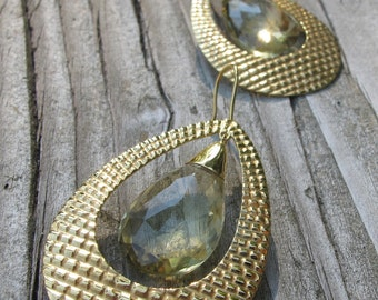 Large Gold Hoop Earring- Boho Chic Dangle Earring- Tear Drop Hoop Earring- Handmade Solid Good Earring- Unique Bohemian Hoop Earring