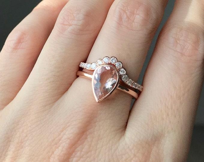 Vintage Morganite Rose Gold Engagement Ring Set- Teardrop Morganite Bridal Ring Set for Her- Morganite Diamond Wedding 2 Ring Set