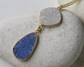 White Blue Druzy Statement Boho Necklace- Blue White Raw Stone Necklace- Natural Druzy Pendant Gold Necklace- Double Stone Silver Necklace