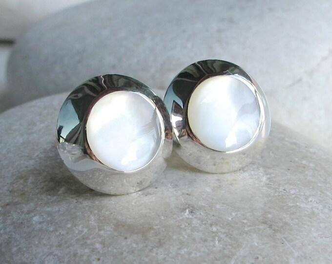 Pearl Earrings Stud Real Pearl Natural Sterling Silver Pearl Bridal Earring June Birthstone White Shell Natural Earring Round Earring