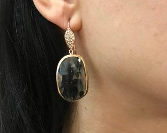 Black Statement Dangle Earring- Large Rose Gold Earring- Designer Drop Earring- Black Quartz Earring- Artisan OOAK Rectangle Earring