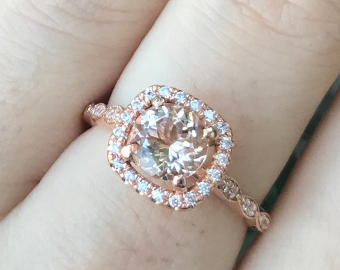 0.80ct Morganite Halo PromiseRing- 6mm Morganite Engagement Ring- Rose Gold Morganite Solitaire Ring- 14k Solid GenuineMorganite Round Ring