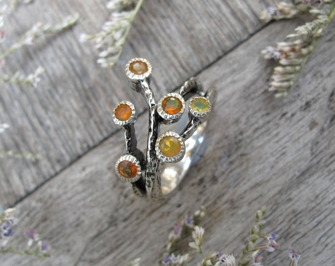 Cluster Natural Welo Opal Gemstone Cluster Statement Rustic  Ring- Multistone Genuine Opal Branch Ring- Opal Solitaire Hammered Ring
