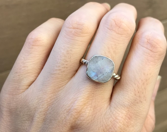 Stackable Moonstone Ring- Square Rainbow Moonstone Ring- June Birthstone Ring- Rope Band Ring- Boho Gemstone Ring- Sterling Silver Ring