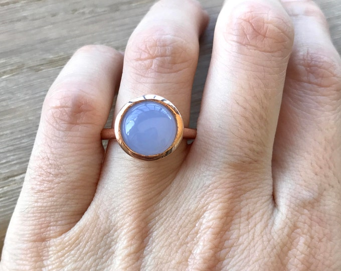 Blue Chalcedony Gemstone Solitaire Ring- Round Blue Aquamarine Statement Ring- Cabochon Blue Sterling Silver Ring-Large Blue 13mm Stone Ring