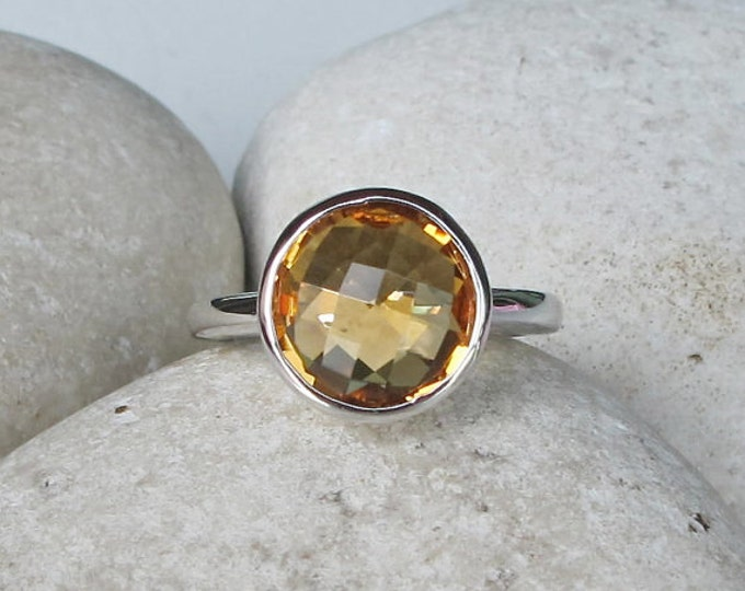 Round Faceted Citrine Ring- November Birthstone Silver Ring- Orange Boho Stackable Ring- Yellow Topaz Ring- Classic Minimalist Ring