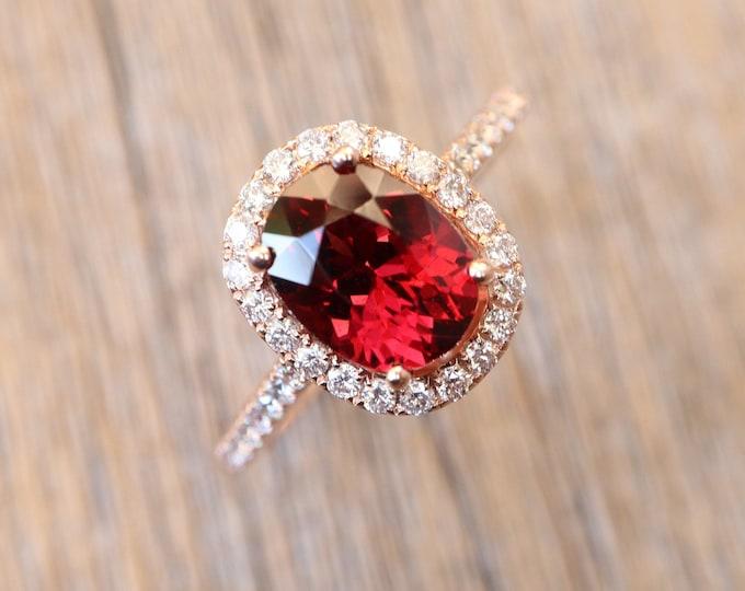 Oval Genuine Garnet Halo Engagement Ring- 2.30ct Natural Garnet Diamond Promise Ring- Garnet Anniversary Ring- January Birthstone Ring