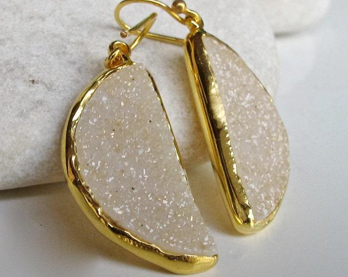 Raw Rustic Real Druzy Earring Semicircle Bridal Gold Druzy Earring Large Statement White Dangle Drop Handmade
