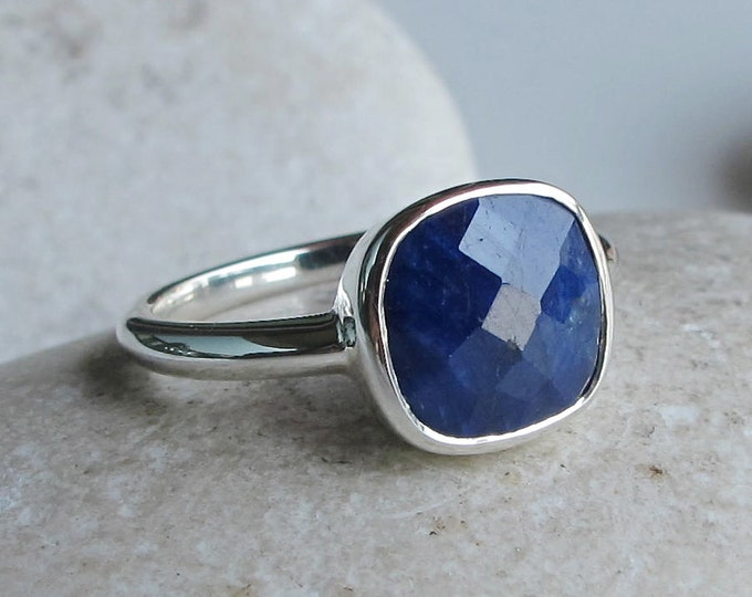 Square Raw Blue Sapphire Ring- September Birthstone Stack Ring- Blue Gemstone Simple Ring- Rough Stone Faceted Ring- Sterling Silver Ring