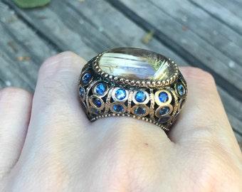 Oval Rutile Statement Ring- Unique Art Deco Ring- Bold Engagement Ring- Filigree Engagement Ring- Designer OOAK Ring