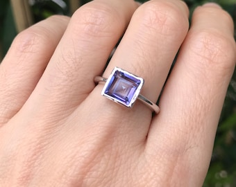 Square Mystic Topaz Stack Teen Ring- Rainbow Boho Neptune Garden Mystic Topaz Ring- Purple Blue Gemstone Gypsy Ring- Jewelry Gifts for Her