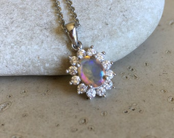Welo Opal Natural Genuine Halo Necklace Fire Opal Oval Silver Necklace October Birthstone Necklace