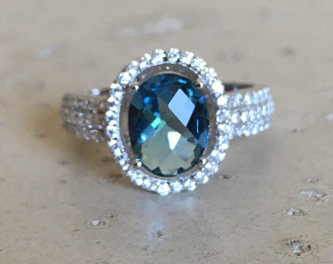 Blue Gemstone Oval Halo Engagement Women Ring- Blue Crystal Promise Ring for Her- Blue Quartz Anniversary Ring- December Birthstone Ring