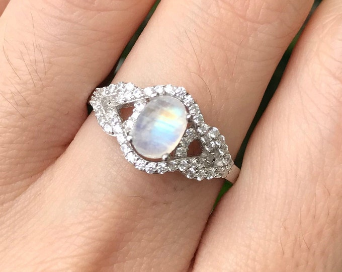 1ct Moonstone Deco Swirl Ring- Cabochon Moonstone Oval Engagement Ring- Rainbow Moonstone Edwardian Anniversary Ring- June Birthstone Ring