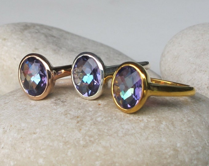 Oval Mystic Topaz Ring- Colorful Neptune Garden Topaz Boho Ring- Blue Purple Rainbow Ring- Gypsy Mood Ring- Silver Mystical Ring