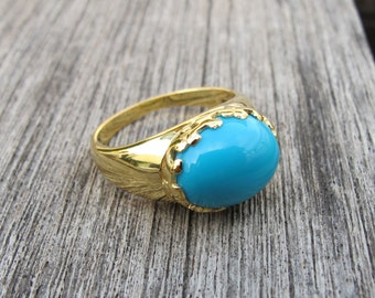 Oval Genuine Turquoise Statement Ring- Sleeping Beauty Turquoise Cab Ring- December Birthstone Ring- Blue Smooth Turquoise Solitaire Ring